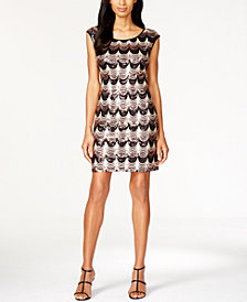 Connected Cap-Sleeve Sequined Dress