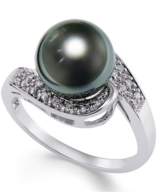 Macy's Cultured Tahitian Black Pearl (9mm) and Diamond (1/10ct. t.w.) Swirl Ring in 14k White Gold