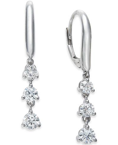 Diamond Triple Drop Earrings (1 ct. t.w.) in 14k White Gold