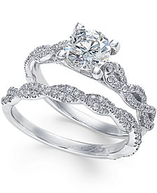 X3 Certified Diamond Engagement Ring Set (1-3/8 ct. t.w.) in 18k White Gold, Created for Macy's