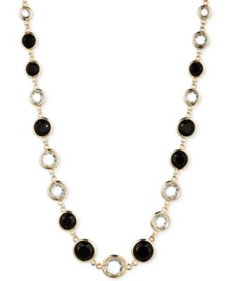 Image of Anne Klein Gold-Tone Jet and Glass Stone Long Necklace
