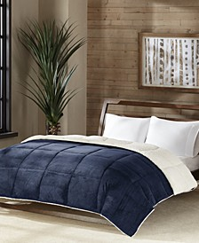 Reversible Micro Velvet and Sherpa Down Alternative King Comforter, Hypoallergenic