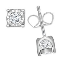 TruMiracle Diamond Stud Earrings 3/8 ct. t.w. in 14k Gold (White Gold or Rose Gold or Yellow Gold)