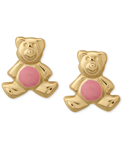 Children's Enamel Teddy Beat Stud Earrings in 14k Rose Gold