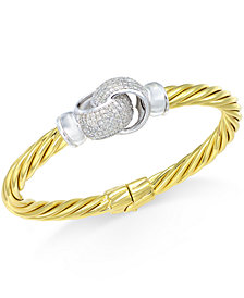 Diamond Interlocked Knot Bangle Bracelet (1 ct. t.w.) in 14k Gold-Plated Sterling Silver