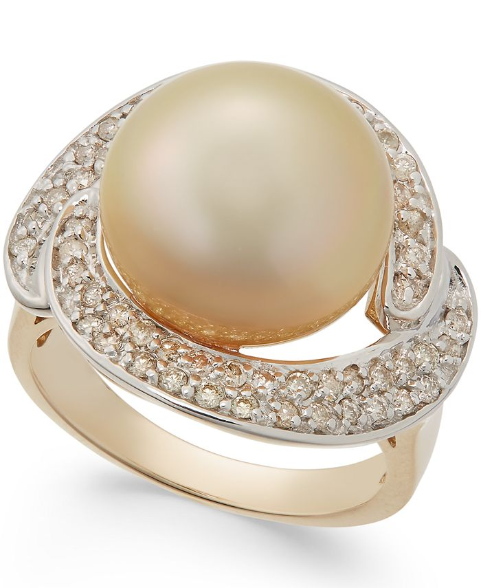 Macy's - Cultured Golden South Sea Pearl (13mm) and Diamond Ring (5/8 ct. t.w.) in 14k Gold