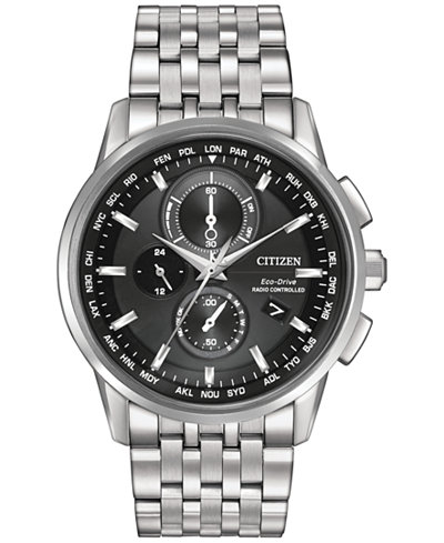 Citizen Men's World Chronograph Time AT Eco-Drive Stainless Steel Bracelet Watch 43mm AT8110-53E