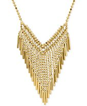 Graduated Beaded Frontal Necklace in 14k Gold