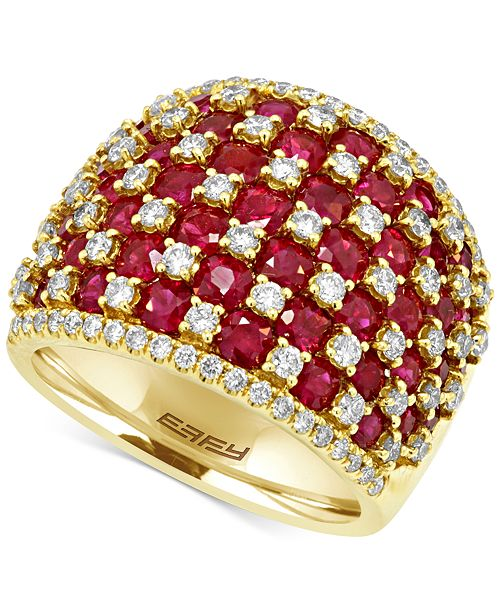 EFFY Collection EFFY® Ruby (4-1/2 ct. t.w.) and Diamond (1-1/4 ct. t.w.) Ring in 14k Gold, Created for Macy's