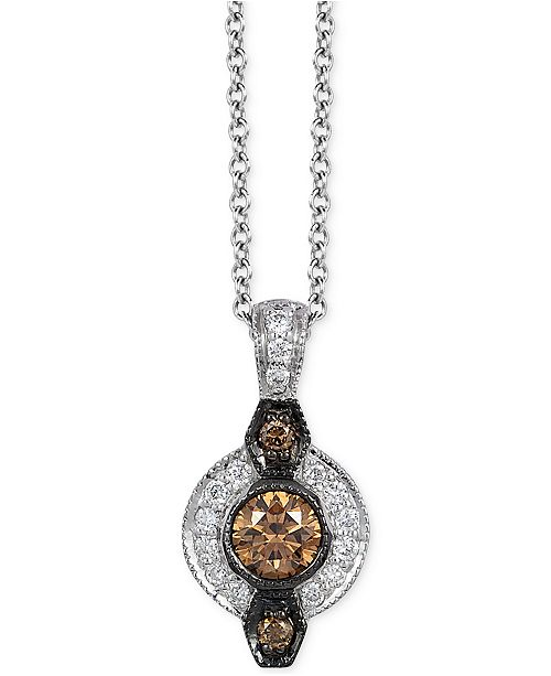 Le Vian  Chocolatier® Chocolate Deco Estate™  Diamond (1/8 ct. t.w.) Pendant in 14k White Gold