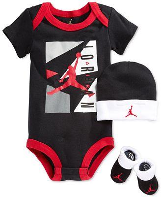 Jordan Baby Boys' 3-Piece Bodysuit, Hat & Booties Set ...