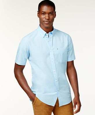 Tommy Hilfiger Men's Maxwell Short-Sleeve Button-Down Shirt ...