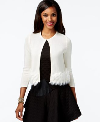 Alfani Faux-Fur Cropped Cardigan Sweater, Created for Macy's ...