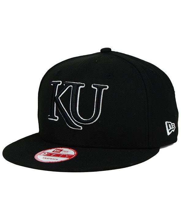 New Era Kansas Jayhawks Black White 9FIFTY Snapback Cap