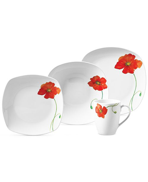 Tabletops Unlimited Poppy 16-Pc. Set, Service for 4
