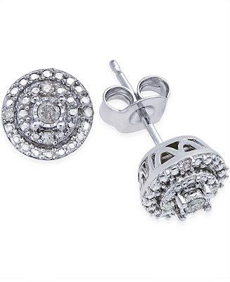 Macy S Diamond Stud Earrings 1 10 Ct T W In Sterling Silver Jewelry Watches