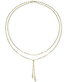 Double Layer Lariat Necklace in 14k Gold