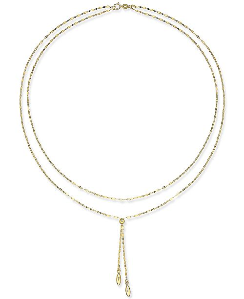 """Macy's Double Layer 17"""" Lariat Necklace in 14k Gold"""