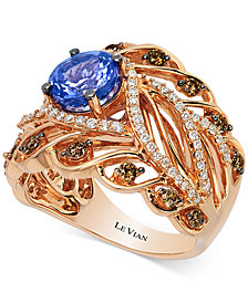Le Vian Chocolatier® Tanzanite (1-1/5 ct. t.w.) and Diamond (3/4 ct. t.w.) Ring in 14k Rose Gold, Created for Macy's