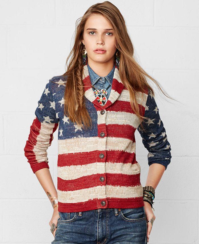 Denim & Supply Ralph Lauren - American Flag-Print Shawl Cardigan