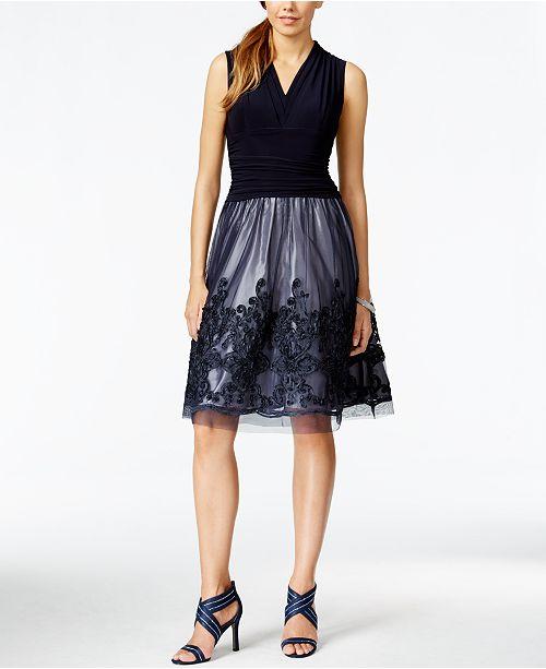 e703f2d423b SL Fashions Illusion Soutache-Trim Party Dress   Reviews - Dresses ...