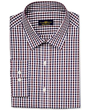Club Room Estate Wrinkle-Resistant Burgundy Holiday Gingham Dress Shirt, Only at Macy's