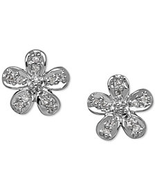 Diamond Accent Flower Stud Earrings in 10k Gold