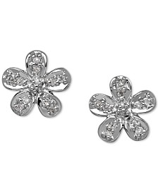 Diamond Accent Flower Stud Earrings in 10k Gold