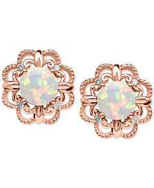 Opal 5 8 Ct T W And Diamond Accent Earrings In 14k Rose