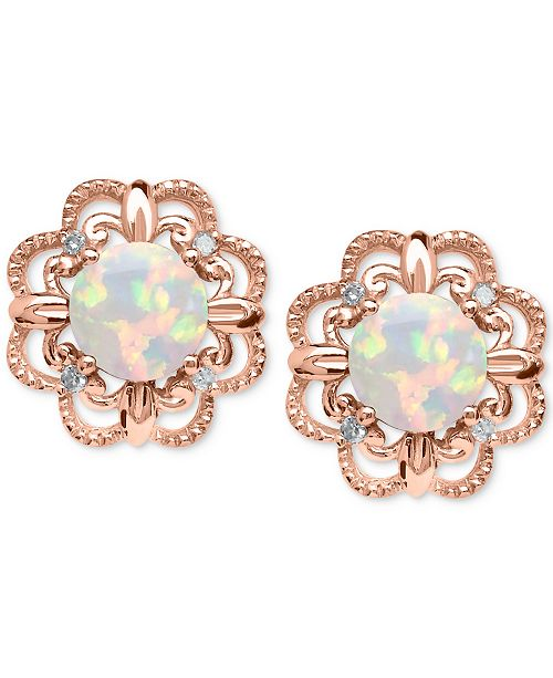 6298e5068b33d Opal (5/8 ct. t.w.) and Diamond Accent Earrings in 14k Rose Gold
