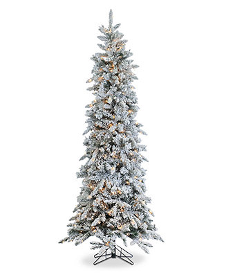 Sterling 7.5' Pre-Lit Narrow Flocked Pine Christmas Tree ...