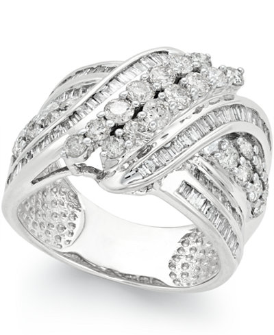 Diamond Double-Row Center Ring (2 ct. t.w.) in 14k White or Yellow Gold