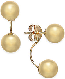 Double-Ball Drop Earrings in 10k Gold