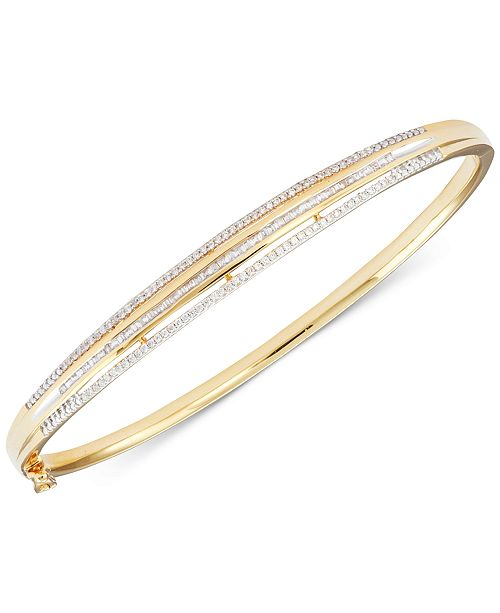 Macy's Diamond Three-Row Bangle Bracelet (1/2 ct. t.w.) in 14K Yellow Gold over Sterling Silver