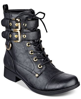 G by GUESS Bell Lace-Up Combat Boots - Boots - Shoes - Macy's