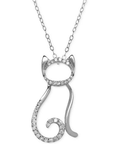 Diamond Cat Pendant Necklace (1/10 ct. t.w.) in 10k White or Yellow Gold
