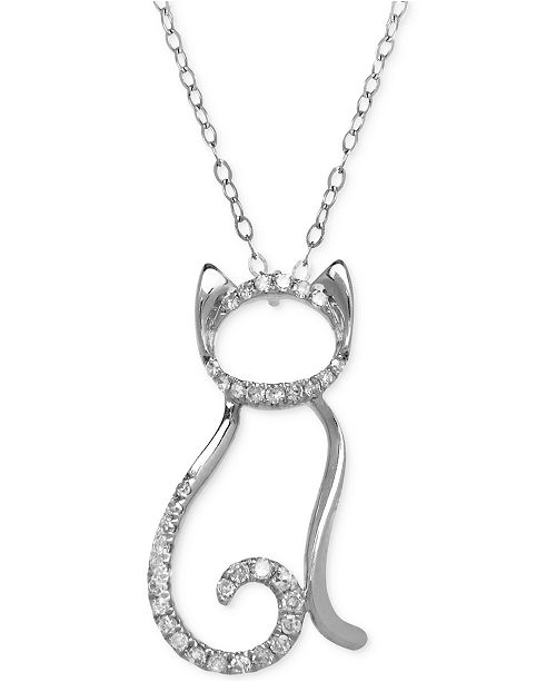 Macys diamond cat pendant necklace 110 ct tw in 10k white or main image main image aloadofball