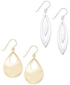 Polished Teardrop Earring Set in 14k White or Yellow Vermeil