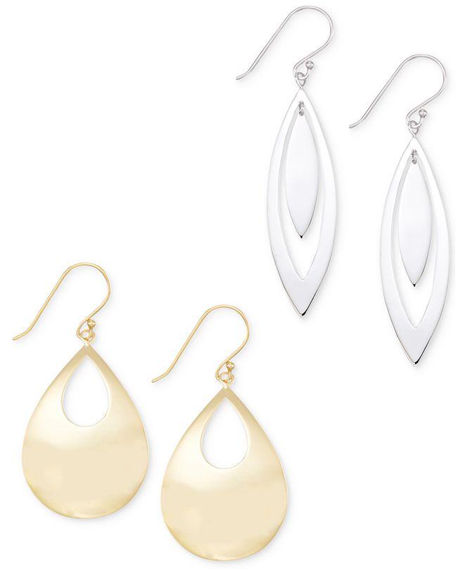 Macy's Polished Teardrop Earring Set in 14k White or Yellow Vermeil