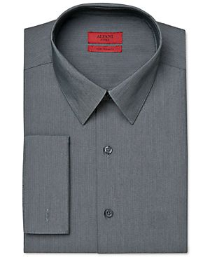 Alfani RED Fitted Performance Dark Grey White Stripe Dress Shirt, Only at Macy's