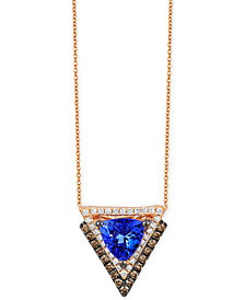 Neo Geo Le Vian Tanzanite (1 ct. t.w.) and Diamond (1/3 ct. t.w.) Geometric Pendant Necklace in 14k Rose Gold, Created for Macy's