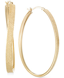SIS by Simone I Smith Satin-Finished Hoop Earrings in 14k Gold over Sterling Silver