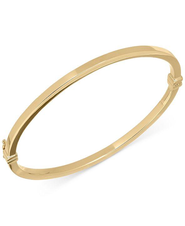 Italian Gold Square Tube Hinge Bangle Bracelet in 14k Gold