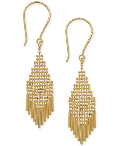 Beaded Small Fringe Drop Earrings in 14k Gold