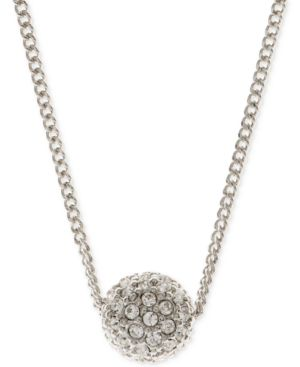 """16"""" Necklace, Rose Gold-Tone Crystal Fireball Pendant Necklace in Silver"""