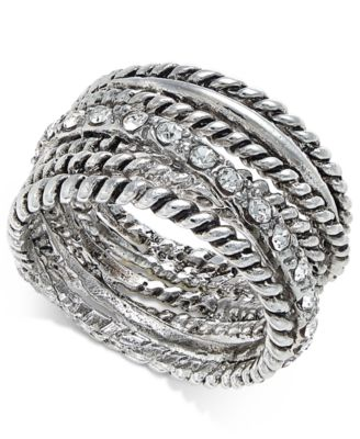 Image of INC International Concepts Textured Pavé Statement Ring, Only at Macy's