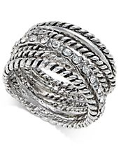 INC International Concepts Textured Pavé Statement Ring, Created for Macy's