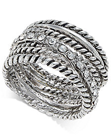 I.N.C. Textured Pavé Statement Ring, Created for Macy's