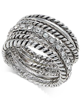 INC International Concepts Textured Pavé Statement Ring, Only at Macy's