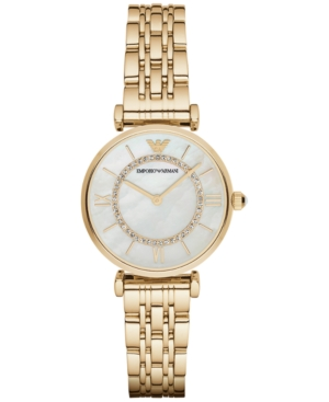 Emporio Armani Women's Gianni T-Bar Gold-Tone Stainless Steel Bracelet Watch 32mm AR1907